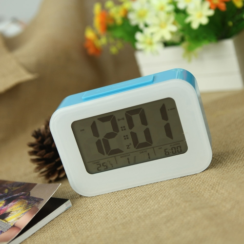 LED Digital Alarm Clock Repeating Snooze Light-activated Sensor Backlight Time Date Temperature Display Blue