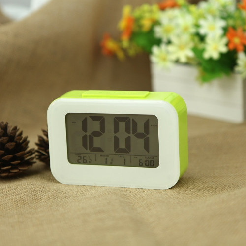 LED Digital Alarm Clock Repeating Snooze Light-activated Sensor Backlight Time Date Temperature Display Green