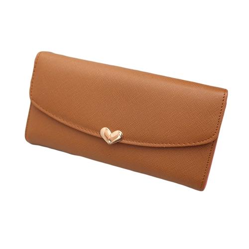 Neue Mode sexy Frauen Mädchen PU Geldbörse Candy Farbe Wallet Clutch Bag braun