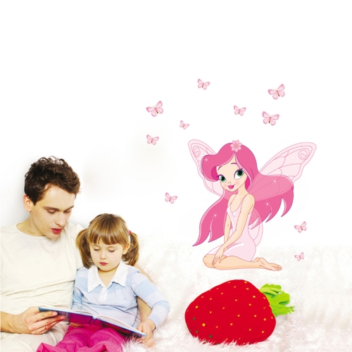 Lovely Beautiful Little Elfin Pink Removable Wall Stickers Art Decals Mural Wallpaper for Kid's Room