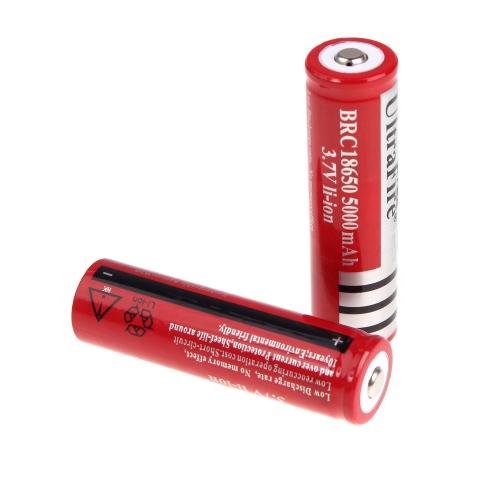 UltraFire 2*18650 3.7V Rechargeable Li-ion Battery 5000mAh for LED Flashlight Torch Light