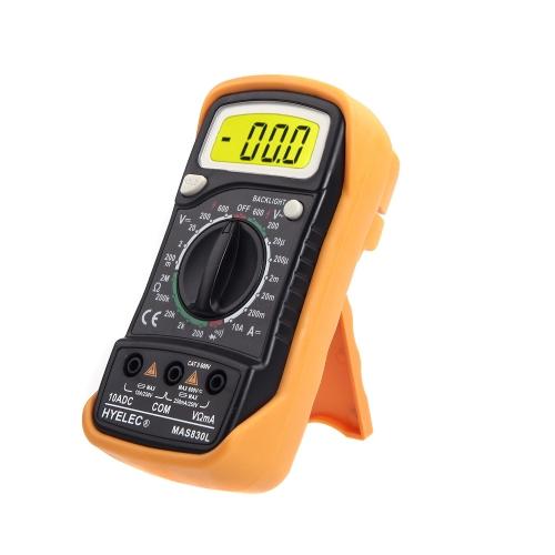 HYELEC MAS830L Portable Digital Multimeter DC Current Resistance AC/DC Volotage Tester w/ Backlight
