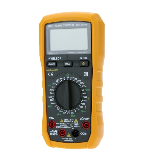 HYELEC MS84 Digital Multimeter 2000 Counts AC/DC Resistance Capacitance Temperature Frequency Tester w/ Backlight