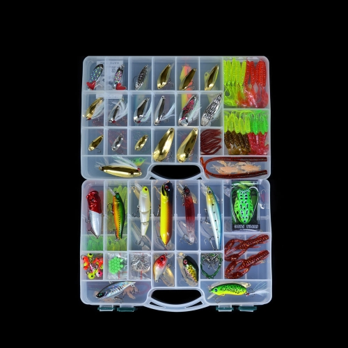 168pcs Artificial Lure Fishing Set duro Soft Bait Minnow Cuchara Caja de dos capas de trastos de pesca