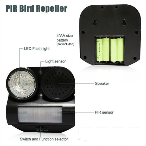 PIR Sensor Birds Repeller Sound Gunshot Flashlight 80 Square Meters