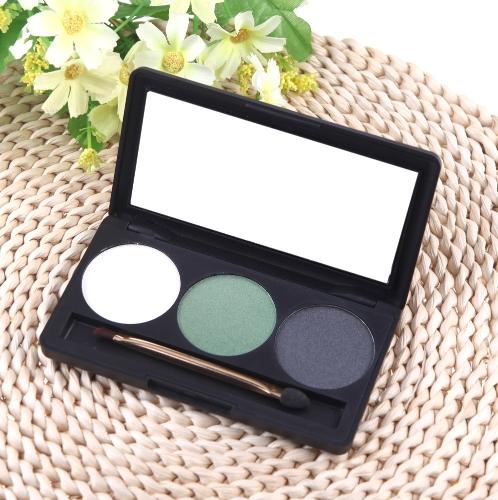 Профессиональный 3 цвет матовый обнаженной макияж палитры теней для век тени с зеркалом и двойной закончились кисть 3#