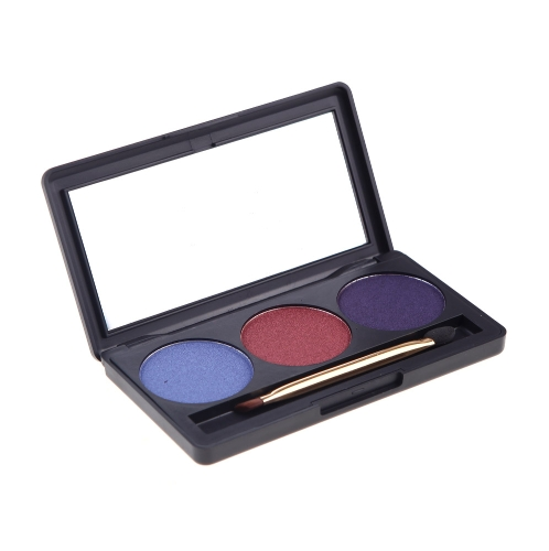 Professional 3 Color Matte Nude Makeup Eyeshadow Palette Eye Shadow with Mirror and Double Ended Brush 4#