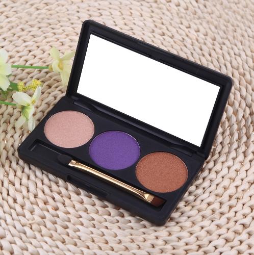 Профессиональный 3 цвет матовый обнаженной макияж палитры теней для век тени с зеркалом и двойной закончились кисти 5#