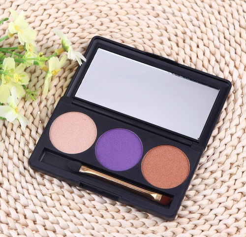 Professional 3 Color Matte Nude Makeup Eyeshadow Palette Eye Shadow with Mirror and Double Ended Brush 5#