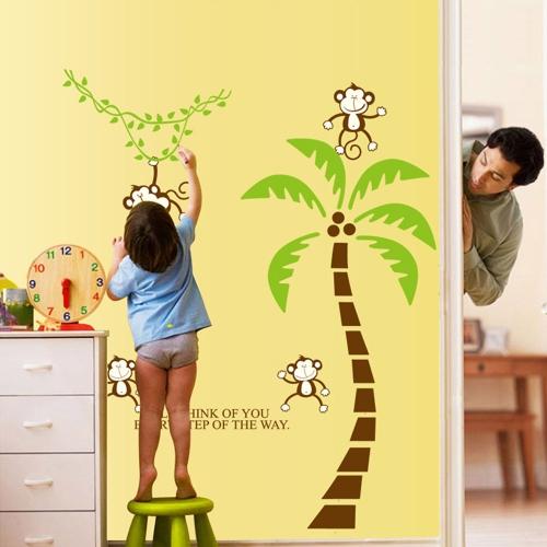 Пять Симпатичных Прекрасных Обезьян Дерево DIY Обои Стикер Стены Художественный Декаль Стенное Украшение Для Детской Комнаты