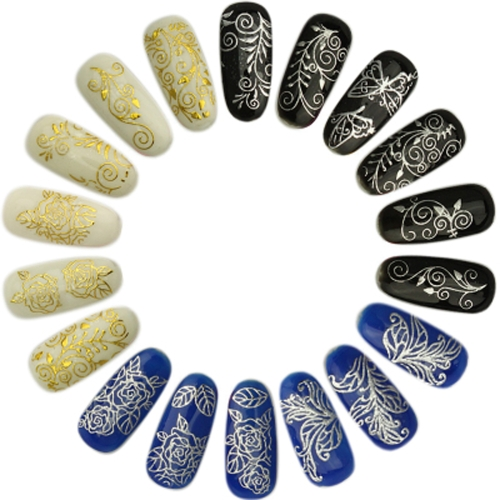 3 Sheets 3D Golden & Silver Decal Stickers Nail Art Tip DIY Decoration Stamping Manicure TB004-TB006