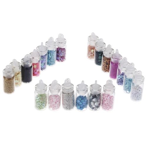 20 Бутылок блестящих порошков рейнского камня для 3D украшения нейл-арта Маникюр