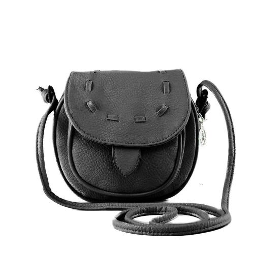Nova moda mulheres Mini bolsa de ombro PU couro Messenger Crossbody Bag Drawstring bolsa preto