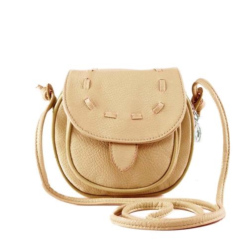 Nueva moda mujeres Mini bolso PU cuero Messenger bandolera lazo bolso color caqui