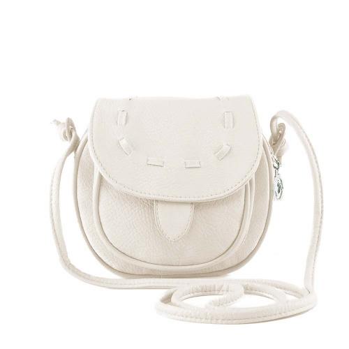 Nueva moda bandolera Mini PU cuero Messenger bandolera lazo bolso blanco