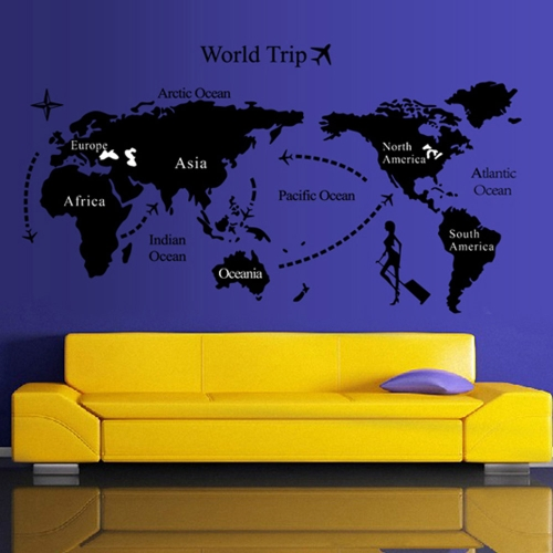World map trip black simple diy wall wallpaper stickers art decor world map trip black simple diy wall wallpaper stickers art decor mural room decal gumiabroncs Image collections