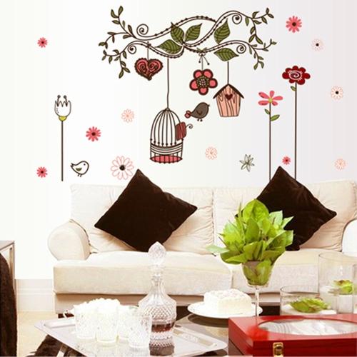 Flores dibujos animados aves jaula vid DIY Wall pegatinas fondos Decor Arte Mural habitación etiqueta