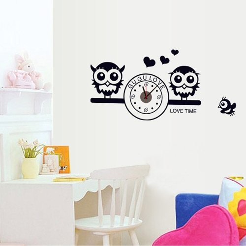 Симпатичные совы с часами DIY Обои Стикер стены Художественный Декаль Стенное украшение