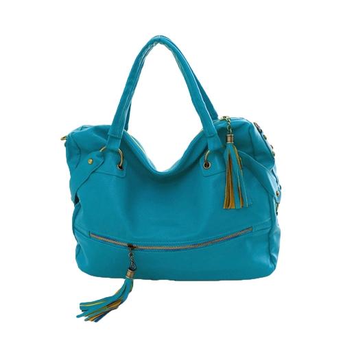 Moda coreana mulheres bolsas PU couro rebite Tassel ombro sacos Crossbody azul