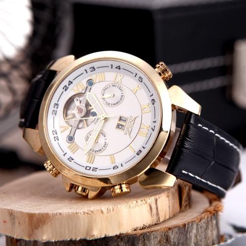 Jaragar Fashion Men's Automatic Mechanical Wrist Sport Watch Leather Band Roman & Arabic Numerals Date Day Week  Display Gold & White