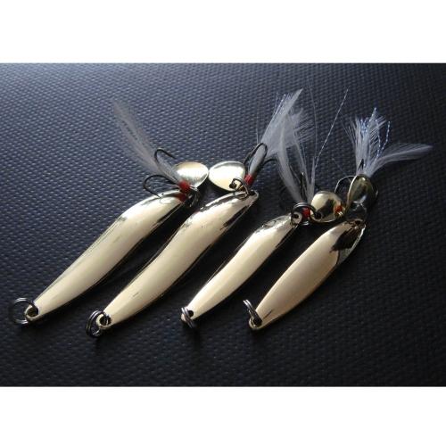 Lixada 4PCS Metal Fishing Lure Hard Baits Sequins Spoon Noise Paillette с высокочастотным крючком 5/7/10 / 13g