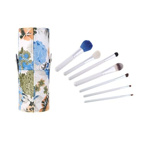 7pcs pincel de maquiagem profissional definir cosmético escova maquiagem Kit ferramenta com flor padrão Copa titular caso azul