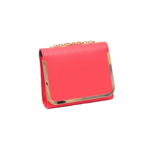 Las mujeres cadena Vintage bolso PU cuero caramelo Color bandolera Messenger bolsas de rojo