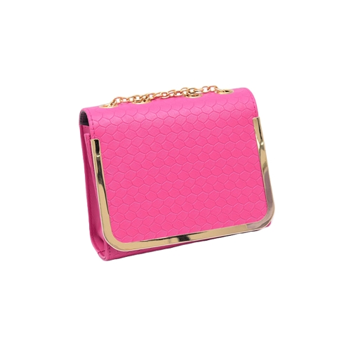 Las mujeres cadena Vintage bolso PU cuero Color caramelo mensajero Crossbody bolsos rosa