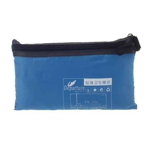 Сверхлегкий единый полиэстера аппликацей здорового спальный мешок лайнера портативный кемпинг поездки спальный мешок голубой