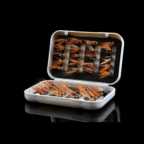 40pcs Mosca secca mosche ganci realistici piuma esche trota salmone pesca Lure Set con scatola