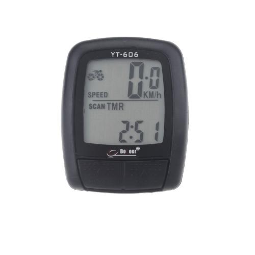 tachimetro, contachilometri per bici / bicicletta Ciclocomputer Odometro del calcolatore LCD Impermeabile Multifunzione nero