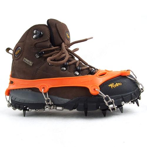 1 coppia 11 denti artigli ramponi antiscivolo scarpe coperchio in acciaio inox catena all'aperto ghiaccio neve sci trekking arrampicata