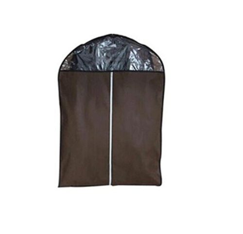 Non-woven Fabric Storage Garment Cover Protector Bag with Translucent Top for Suit Dress Clothes Dustproof Medium Size Coffee