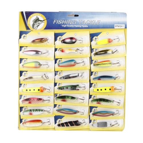 24X Fischen Köder Mischfarbe Größe Gewicht Haken Metall Löffel harte Köder Gerät