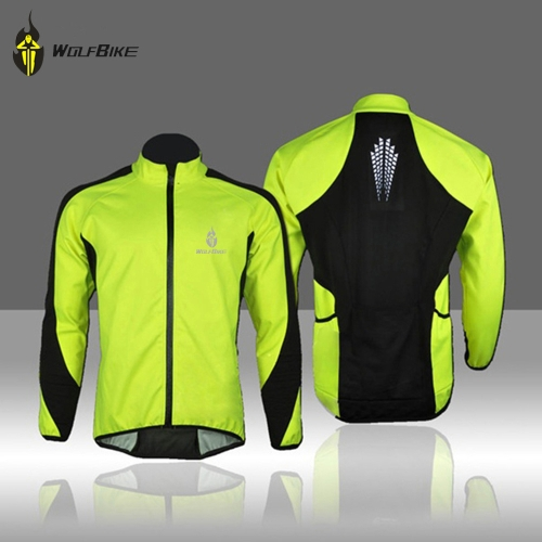 WOLFBIKE Fleece Thermal Cycling Long Sleeve Jersey Winter Outdoor Sports Jacket Windproof Wind Coat Bicycle Cycle Wear Clothing 3XL Image
