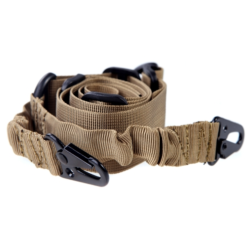 Adjustable 2 Dual-Point Mission Bungee Elastic Tactical Sling for Rifle Camel