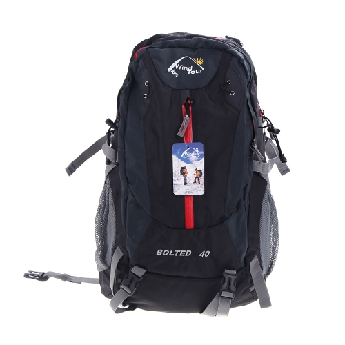 Wind Tour 40L Outdoor Sport Travel Backpack Mountain Climbing Knapsack with Rain Cover Camping Hiking Black