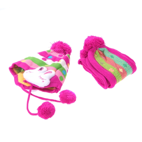 The Cute Kid Bunny Ear Hat Set Winter Cap Warm Scarf Rose Red