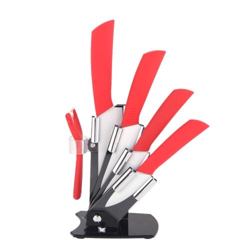 Цирконий керамический нож кухонный набор 3 «4» 5» 6» дюйма + Овощечистка + держатель красный