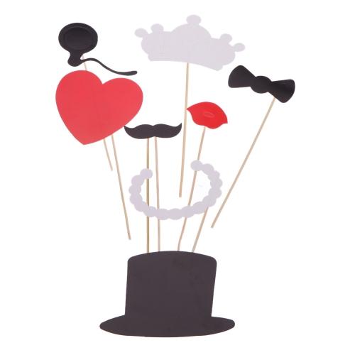 Anself 8pcs Set de accesorios de photocalls de fotos de boda atrezzo decorativo de fotografía en un palillo de decoración de máscara barba bigote sombrero para fiesta de cumpleaños de la corona