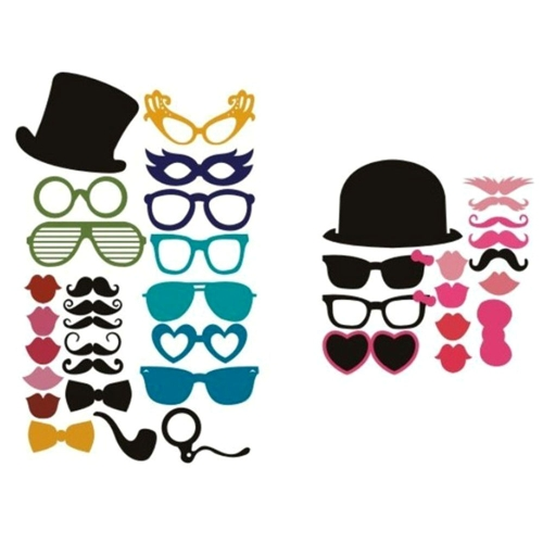 36pcs Set Wedding Photo Props on a Stick Mask Beard Mustache Hat Glasses Lips Birthday Party Decoration