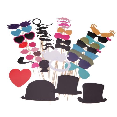 44pcs Set Wedding Photo Props on a Stick Mask Beard Mustache Hat Glasses Lips Birthday Party Decoration