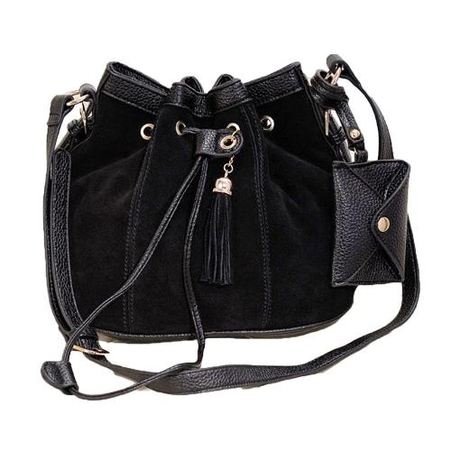 New Fashion Women Girl Bucket Bag Tassel Drawstring Crossbody Messenger Shoulder Bag Black