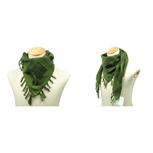 110*110cm Military Arabian Shemagh Tactical Desert Head Scarf Fringed Shawl Stole Muffler Headdress Unisex 100% Cotton Army Green