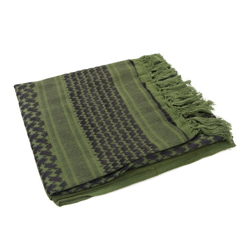 Image For 110*110cm Military Arabian Shemagh Tactical Desert Head Scarf Fringed Shawl Stole Muffler Headdress Unisex 100% Cotton Army Green