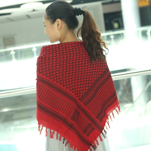 Image For 110*110cm Military Arabian Shemagh Tactical Desert Head Scarf Fringed Shawl Stole Muffler Headdress Unisex 100% Cotton Red