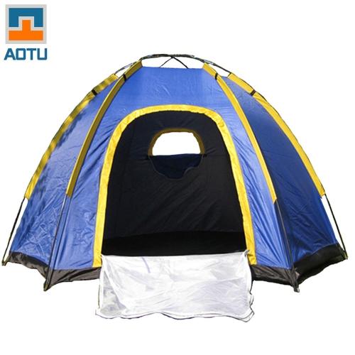 Гексагональной палатка для 3-4 человек УФ открытый путешествий портативный синий