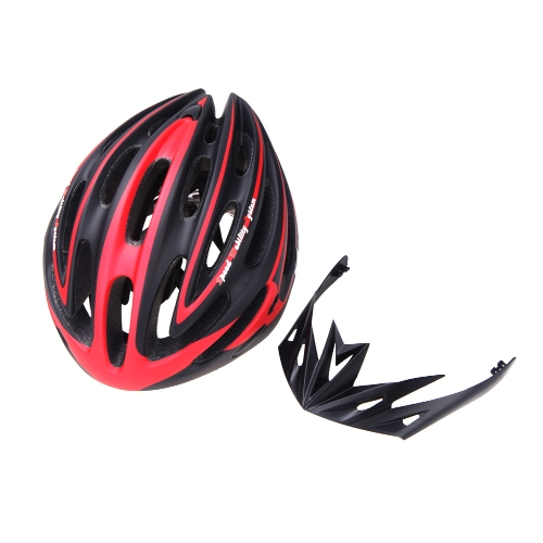 24 Vents Ultralight EPS Outdoor Sports Mtb/Road Cycling Helmet with Visor Mountain Bike Bicycle Adult Red and Black