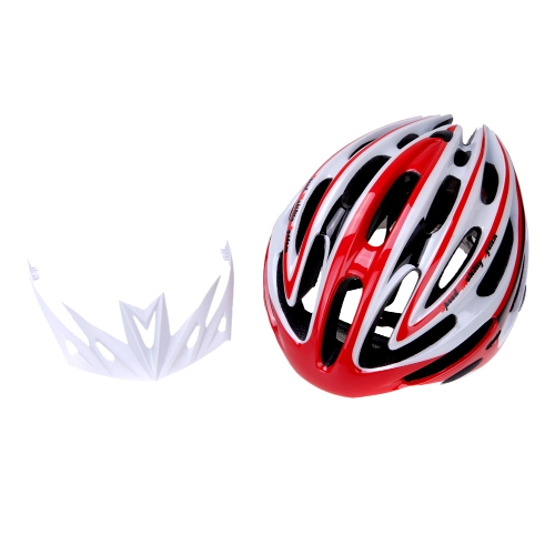 24 Vents Ultralight EPS Outdoor Sports Mtb/Road Cycling Helmet with Visor Mountain Bike Bicycle Adult Red and White