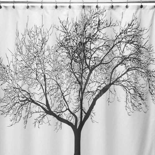 Big Black Tree Design 180 * 180cm Bathroom Waterproof Fabric Bath Shower Curtain+12 Ring Hooks